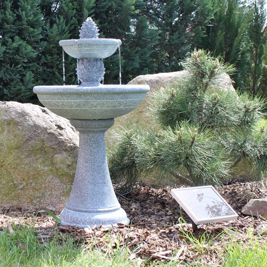 Fontaine Solaire Cascade Bain D 39 Oiseaux 2 Niveaux Grise Fontaines Solaires Objetsolaire