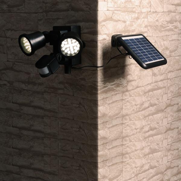spot solaire puissant d tecteur de mouvements 2 lampes 600. Black Bedroom Furniture Sets. Home Design Ideas