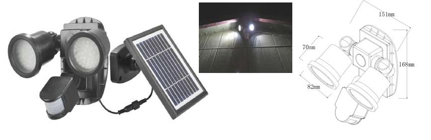 Spot solaire puissant double 600 lumens d tecteur de for Spot solaire 200 lumens
